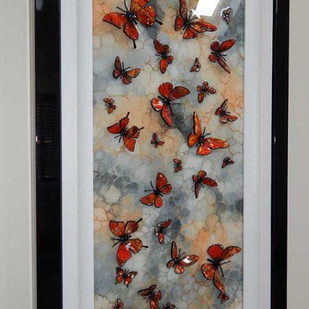 orange stone butterfly side view 3d art