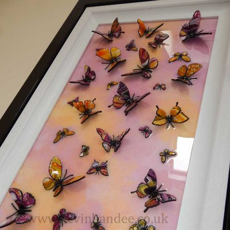 pink and yellow angle view multi butterfly art