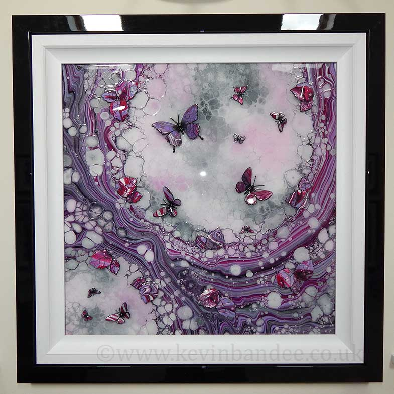 pink lilac organic 3d butterfly art