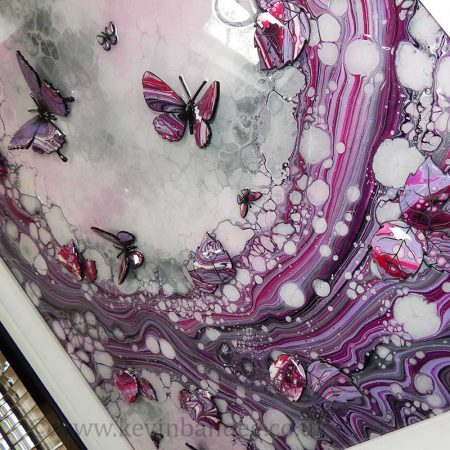 pink lilac organic 3d butterfly side view art