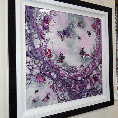 pink organic 3d butterfly art left side view