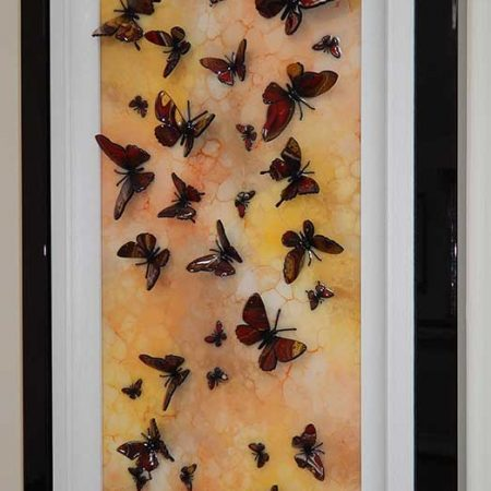 side angle yellow orange brown multi butterfly art