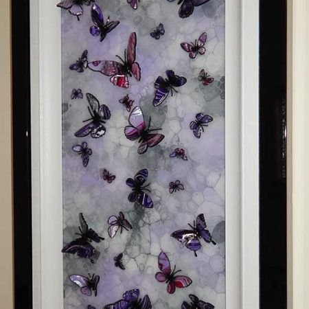 side view multi purple and lilac butterfly