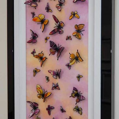 side view pink yellow butterfly art 2