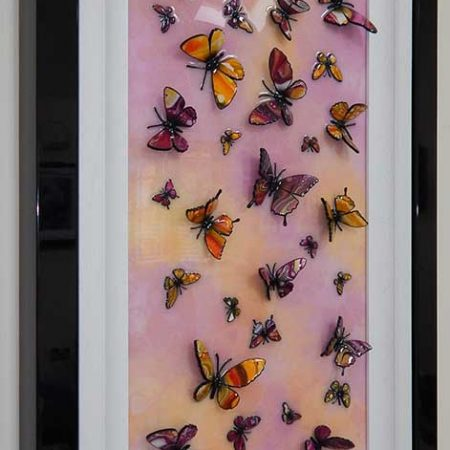side view pink yellow butterfly art