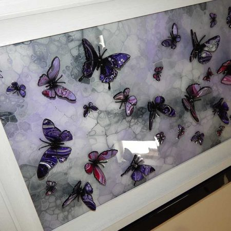 side view purple and lilac multi butterfly