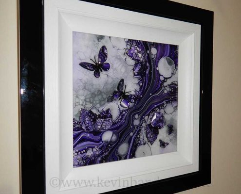 side view small purple 3d butterfly art