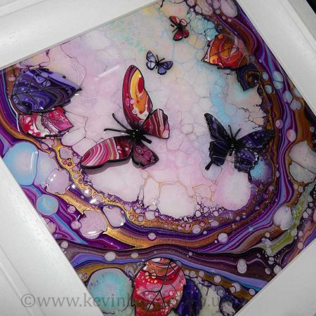 small butterfly wave 3d art close up 2