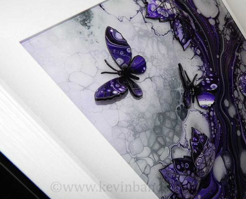 small purple butterfly art angle view