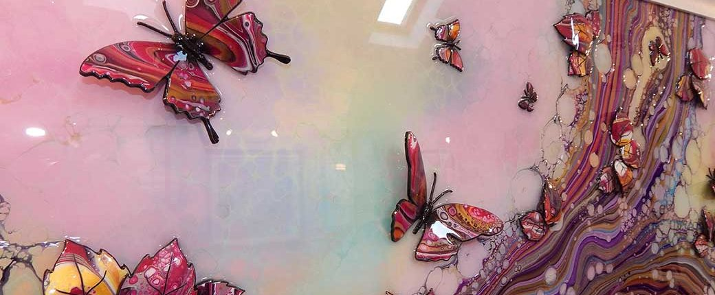 detailed view large pink organic 3d butterfly art