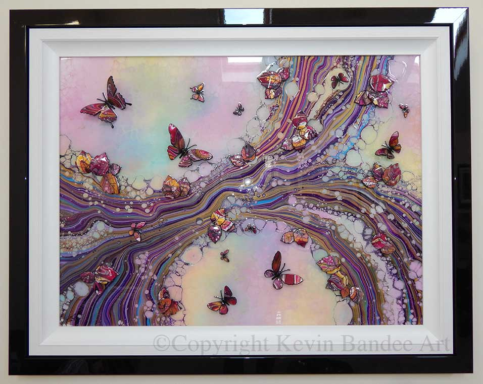 large pink organic 3d butterfly art