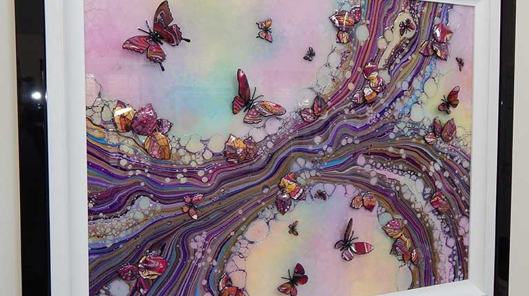 large pink organic 3d butterfly side view 2