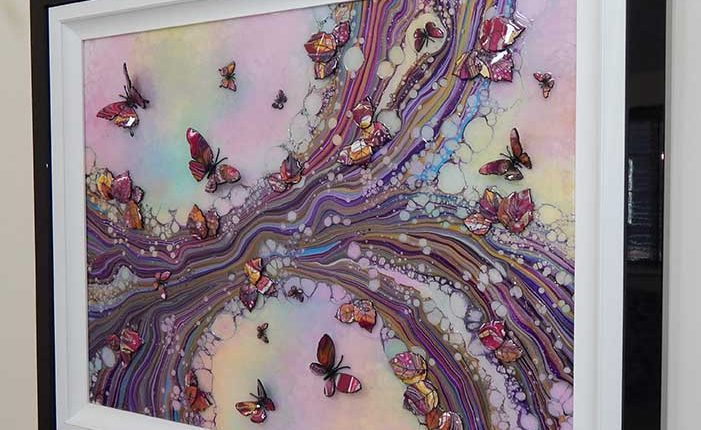 large pink organic 3d butterfly side view 3