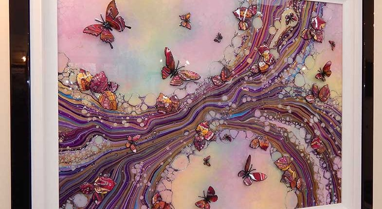 large pink organic 3d butterfly side view