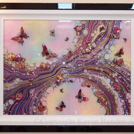 large pink organic butterfly art