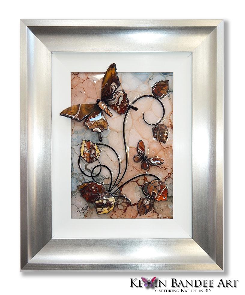 brown 3d butterfly art silver frame