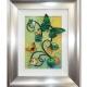 green yellow 3d butterfly art silver frame
