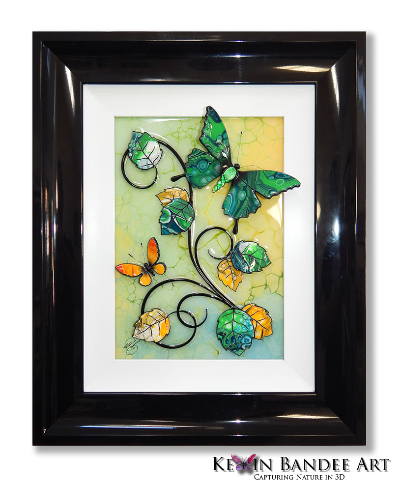 green yellow 3d butterfly art
