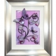lilac 3d butterfly art silver frame