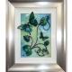 lime green 3d butterfly art silver frame