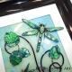 lime green 3d dragonfly art close up