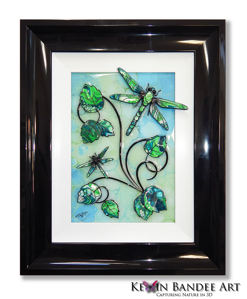 lime green 3d dragonfly art