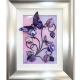 pink purple 3d butterfly art silver frame