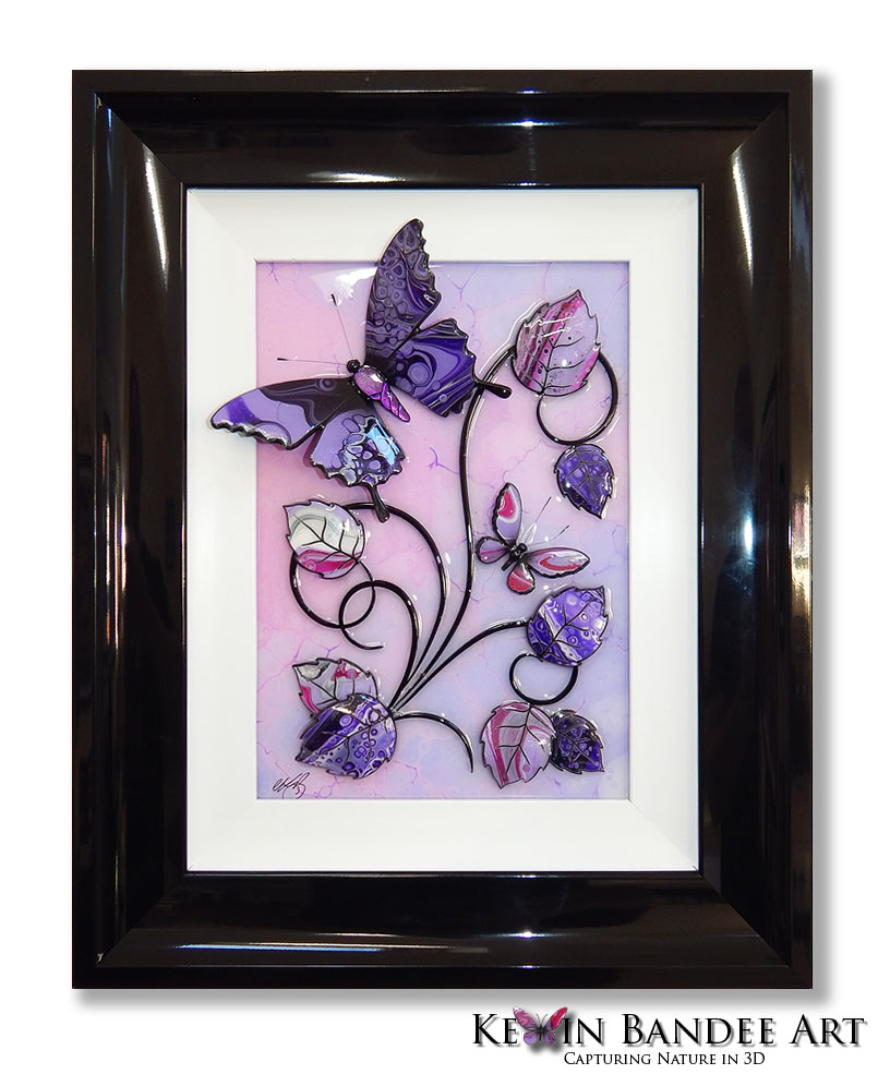 pink purple 3d butterfly art