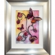 pink yellow 3d butterfly art silver frame