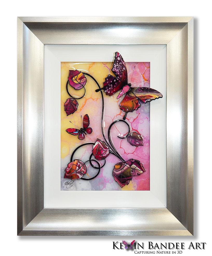 pink yellow 3d butterfly art silver frame