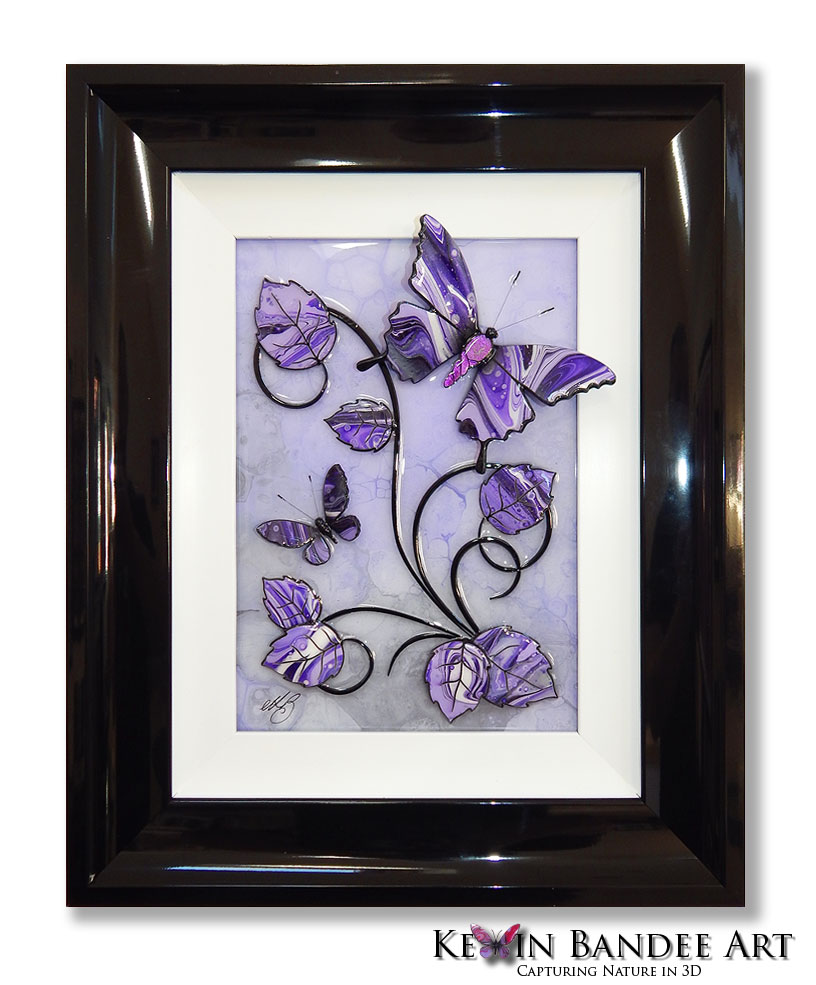 purple grey 3d butterfly art