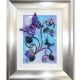 purple turquoise 3d butterfly art silver frame