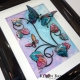 turquoise pink 3d butterfly art angle view 1