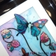 turquoise pink 3d butterfly art close up