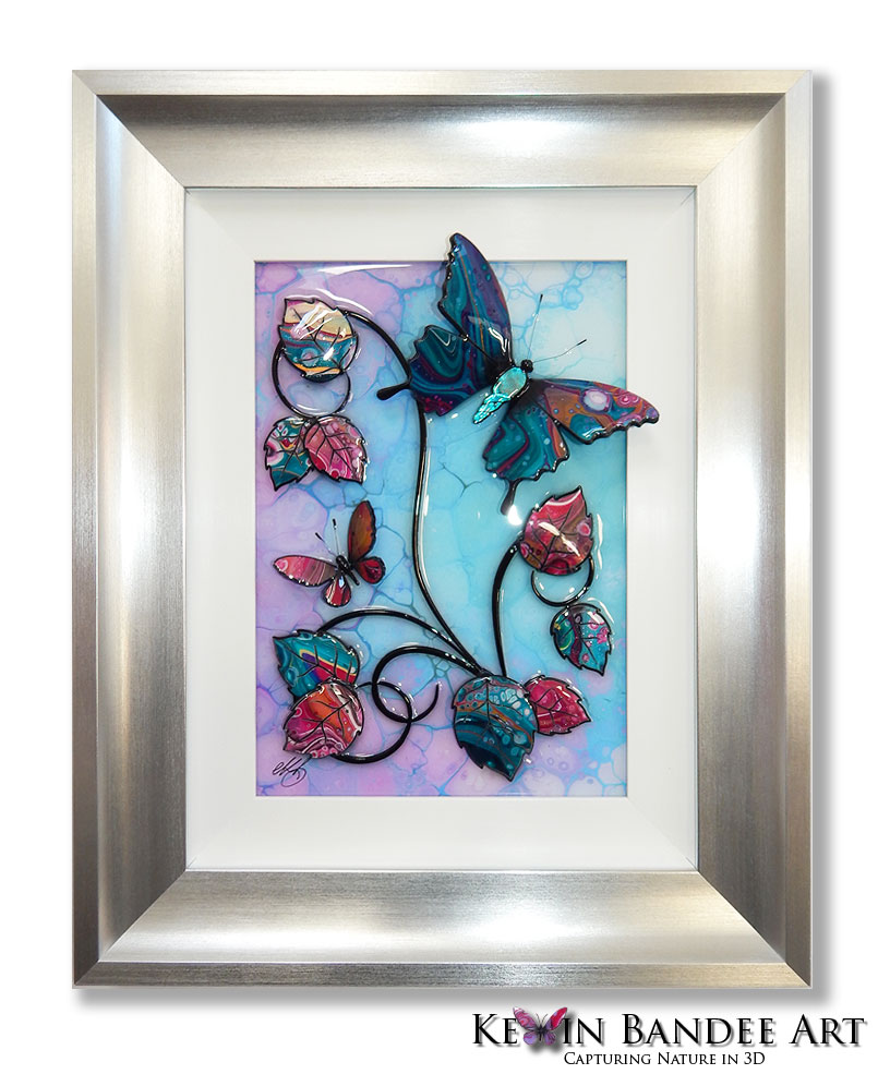 turquoise pink 3d butterfly art silver frame