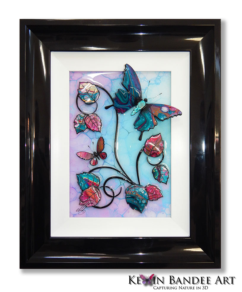 turquoise pink 3d butterfly art