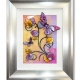 yellow lilac 3d butterfly art silver frame