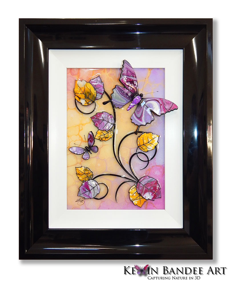yellow lilac 3d butterfly art