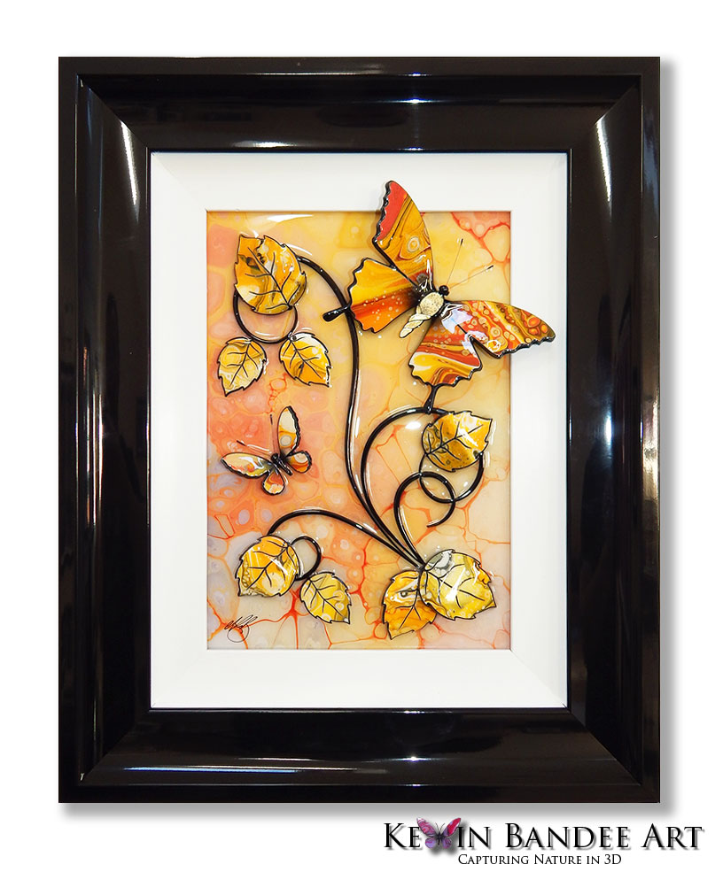 yellow orange 3d butterfly art