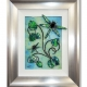 lime green 3d dragonfly art silver frame