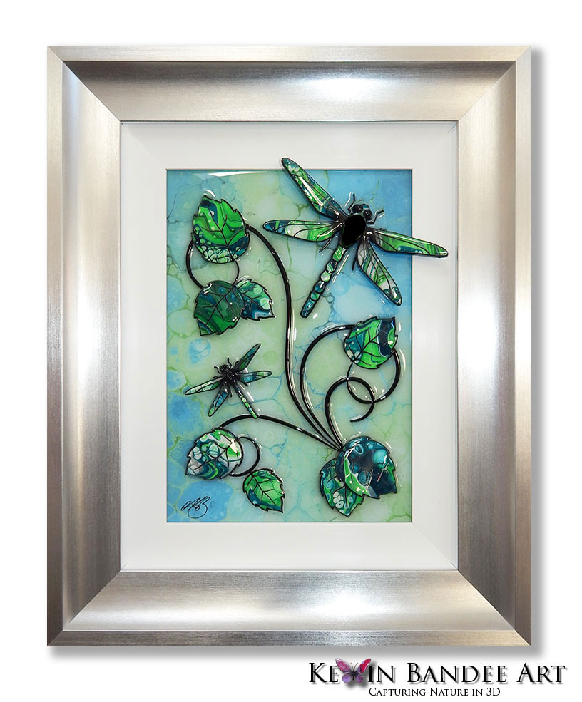lime green 3d dragonfly art silver frame