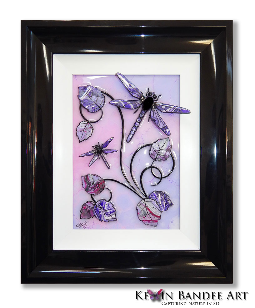 pink purple 3d dragonfly art